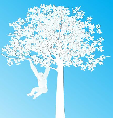 hang tag: paper cut design Monkey is swing and hang on a tree Illustration