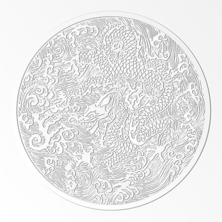 papel cortado diseño aislado vector dragón chino