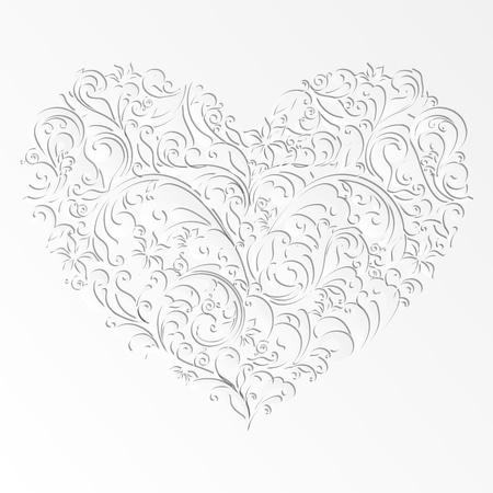 cut paper art: paper cut design isolated vector heart of element