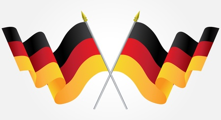 german flag: Isolated Twin Germany flags waving on white