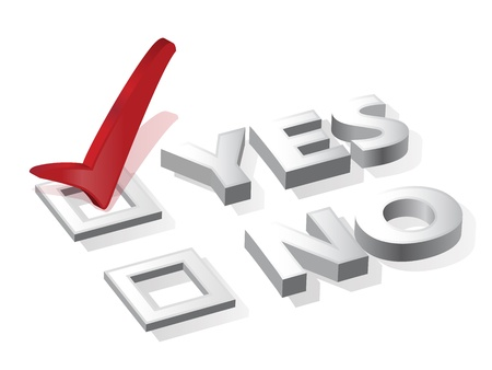 tickbox: check list with red choice mark yes or no Illustration