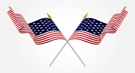 us military: Isolated Twin American flags waving on white