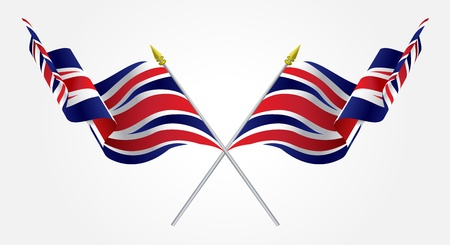 Isolated Twin United Kingdom flags waving on white Vector