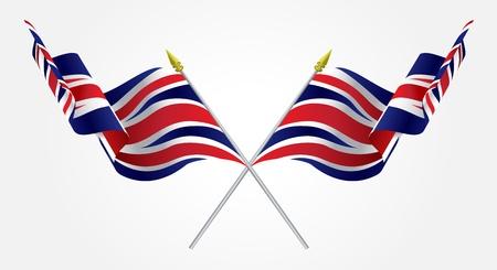 Isolierte Twin Großbritannien Flaggen wehten auf weiß
