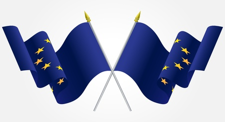 Isolated Twin European Union flags waving on white Stock Vector - 14975449