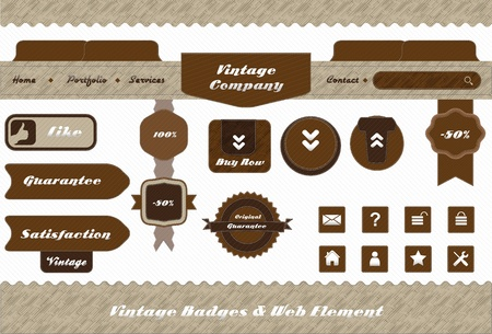 vintage style web element and labels design set Vector