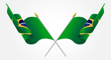 Isolated Twin Brazil flags waving on white Vector