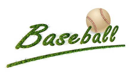 isolated headline Grass Text baseball and ball Vector