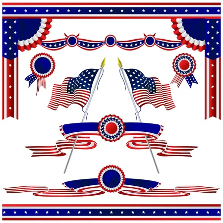 fourth july: Isolated decorative flags USA set Illustration