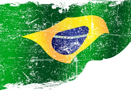 Aislado bandera brasileña grunge con copia espacio Vectores
