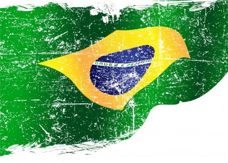 Isolated Grunge brasilianische Flagge mit Kopie Raum