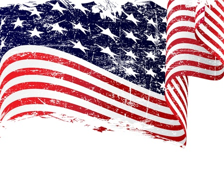 us flag grunge: Isolated grunge USA flag with copy space Illustration