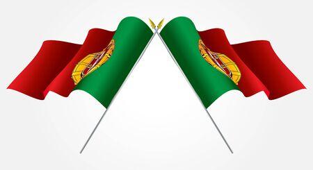 drapeau portugal: Isolés jumeaux drapeaux Portugal agitant sur blanc Illustration