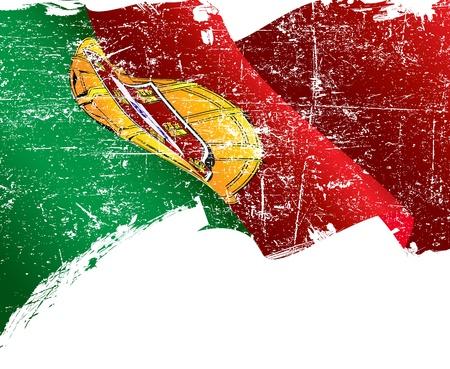 drapeau portugal: Isolé Portugal flag grunge avec copie espace