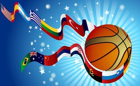 international basketball: International Basketball World top rangking whit flags Illustration