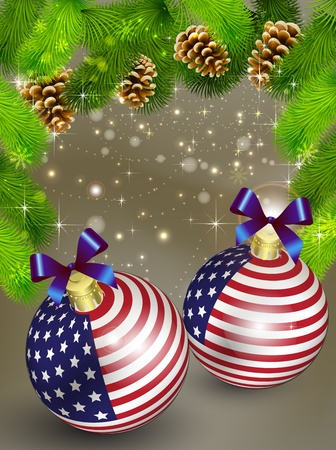 close up isolated: Christmas card decoration from USA baubles and Pine cones