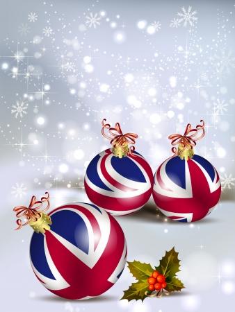 Weihnachtskarte Dekoration aus Großbritannien Kugeln Illustration