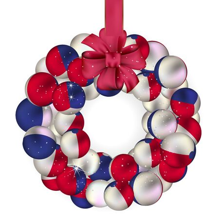 french doors: Christmas wreath decoration from French baubles on white Illustration