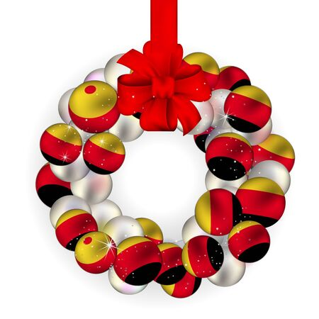 Christmas wreath decoration from Germany baubles on white Vector
