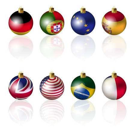 Isolated International Christmas balls on white background Vector