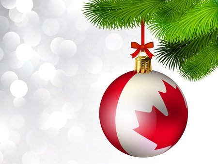 Christmas decoration from Canada baubles on white