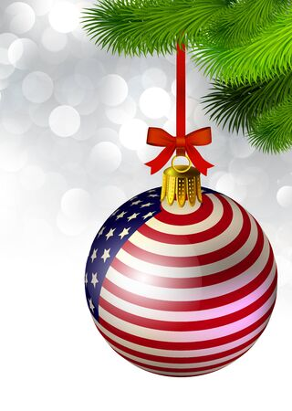 Christmas decoration from USA baubles on white Vector