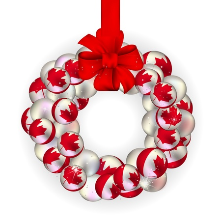 Christmas wreath decoration from Canada baubles on white