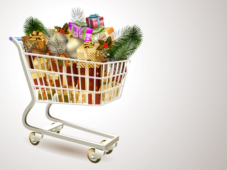 anniversary sale: illustration of cart full of gift box Christmas decoration