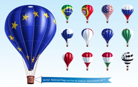 flying float:  Vector  National Flags on hot air balloon illustrations set 1