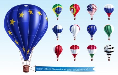 Vector Nationalflaggen auf dem Heißluftballon Abbildungen Satz 1