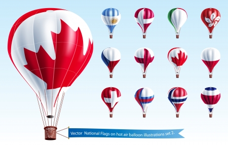 Nationale Vlaggen op hete luchtballon illustraties