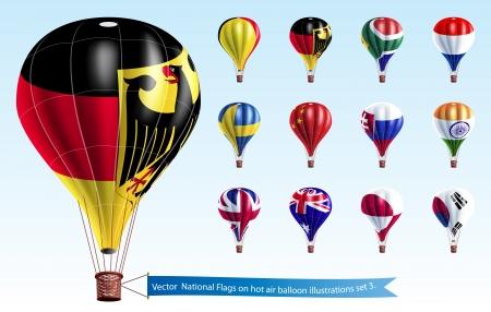 ballon dirigeable: Drapeaux nationaux sur les illustrations chaudes en montgolfi�re