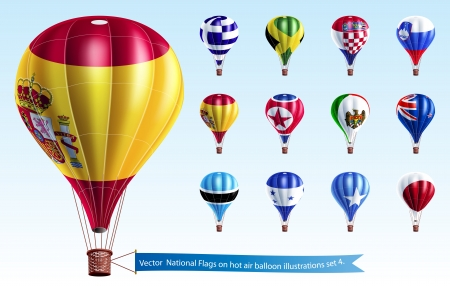 National Flags on hot air balloon illustrations  Vector