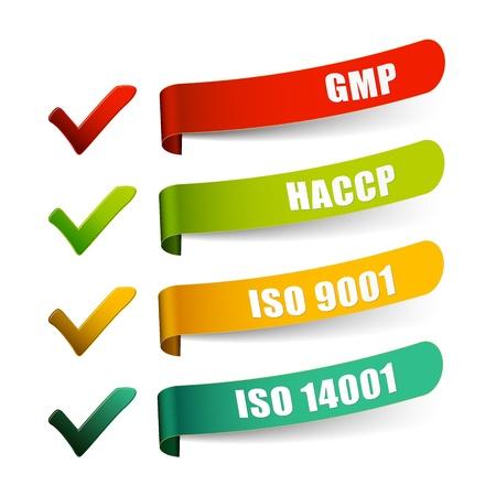 Consultar la lista del GMP HACCP ISO 9001 y 14001 del sistema Vectores