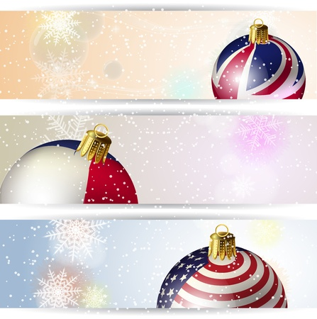 Set of winter Christmas horizontal banner Ball and Snowflake Stock Vector - 15353841