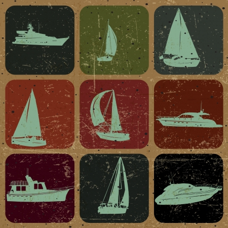 set of Vintage Ship, sailing, with Grunge Effect Vector