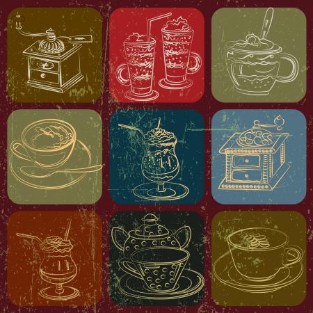 Té y café conjunto cosas banner con efecto grunge