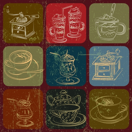 old kitchen: Tea and coffee stuff banner set with Grunge Effect Illustration
