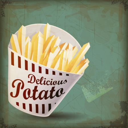 fry: vintage French fries whit vintage with Grunge Effect Illustration