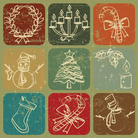 Christmas hand drawn decoration banner with Grunge Effect Stock Vector - 15353851