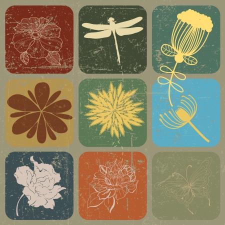 dibujado a mano flor de bandera decoración con efecto grunge