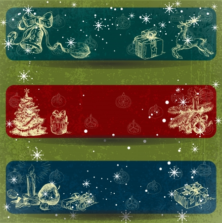Christmas hand drawn decoration banner with Grunge Effect Stock Vector - 15353850