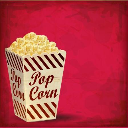 cinema background: vintage Popcorn with Grunge Effect