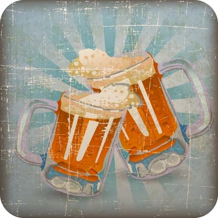vintage beer clink glasses with Grunge Effect Illustration