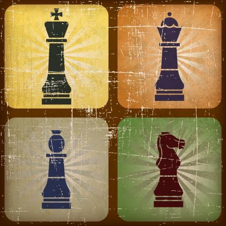 Illustration Vintage Schach mit Grunge-Effekt Illustration