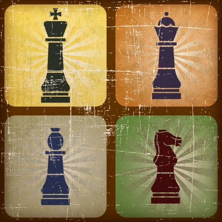 ilustración de la vendimia ajedrez con efecto grunge Vectores