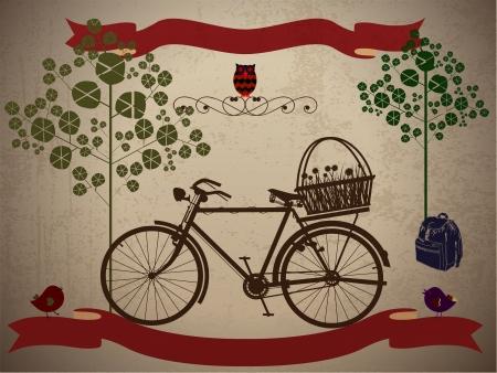 Mit dem Fahrrad in der Art, im Urlaub mit Grunge-Effekt Illustration