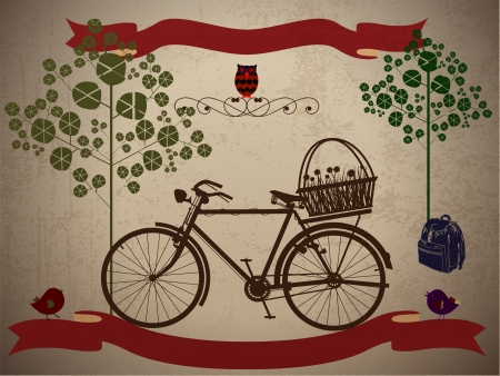 Riding a bike in style, on holiday with Grunge Effect Vector