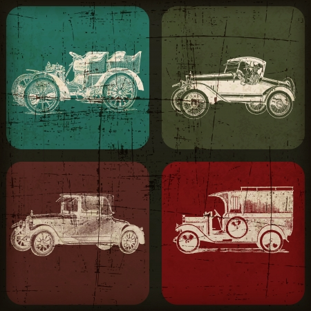 retro car hand drawn banner with Grunge Effect Illustration