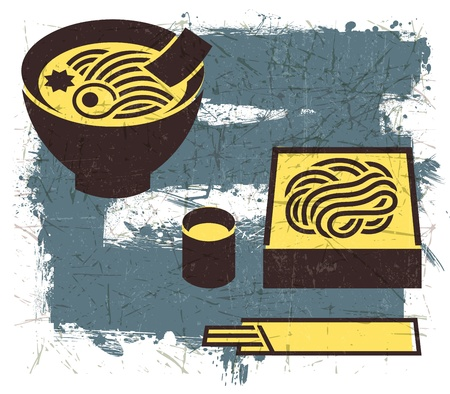 noodle bowl: Vintage Japanese noodles illustration with Grunge Effect